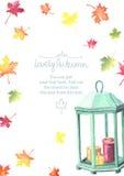 Рамка осени акварели с красочными листьями Стоковые Фотографии RF