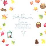 Рамка осени акварели с красочными листьями Стоковые Изображения RF