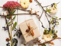 Рамка осени высушенных цветков на белой деревянной предпосылке Стоковое фото RF