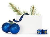Рамка от ветви ели и игрушек Chrismas Стоковые Изображения
