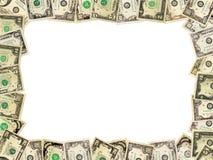 Рамка от долларов изолированных на белизне Стоковое фото RF