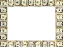 Рамка от долларов изолированных на белизне Стоковая Фотография