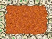 Рамка от долларов и листьев осени Стоковые Изображения RF