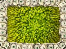 Рамка от долларов на зеленой абстракции Стоковые Фото