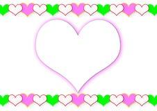 Рамка от сердец и большого сердца Стоковая Фотография