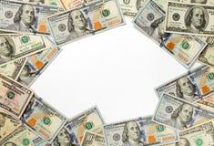 Рамка долларовых банкнот на белой предпосылке Стоковые Фотографии RF