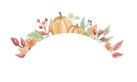 Рамка падения осени тыквы акварели покрашенная рукой Стоковые Изображения