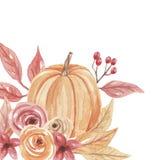 Рамка падения осени угла тыквы акварели покрашенная рукой Стоковое Изображение