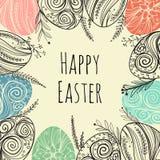 Рамка пасхи при нарисованная рука пасхальных яя Декоративная рамка от яичек и заводов Стоковое Изображение