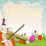 Рамка пасхи с зайчиком violonist иллюстрация штока