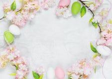 Рамка пасхи с цветками и пасхальными яйцами Стоковое Фото