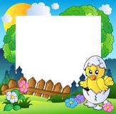 рамка пасхи цыпленка милая Стоковое Изображение RF