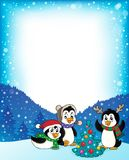 Рамка 2 пингвинов рождества тематическая бесплатная иллюстрация