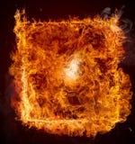 рамка пожара предпосылки черная Стоковая Фотография