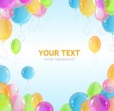 Рамка праздника с красочными воздушными шарами Стоковое Фото