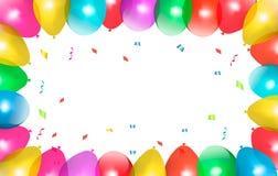 Рамка праздника с цветастыми воздушными шарами. Стоковое Изображение RF