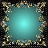 Рамка предпосылки с драгоценностями орнаментов золота Стоковые Фото