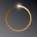 Рамка прозрачного вектора золотая светлая при sparkles изолированные дальше Стоковые Изображения RF