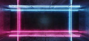 Рамка прямоугольника Sci Fi современная ретро футуристическая сформировала трубки пурпура голубые неоновые накаляя в темной пусто иллюстрация вектора