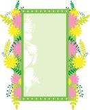 Рамка прямоугольная с абстрактными цветками и листьями Флористическое украшение Стоковое фото RF