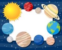Рамка планет солнечной системы горизонтальная иллюстрация штока