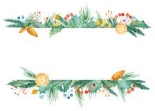 Рамка рождества акварели Шаблон с ветвями ели, ягодами, подарками, шариками, смычком иллюстрация вектора