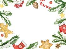 Рамка рождества вектора акварели с ветвями и местом ели для текста Стоковая Фотография