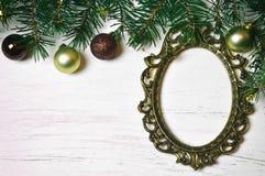 Рамка рождества винтажная и украшение рождества Стоковое фото RF