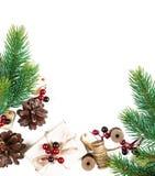 Рамка рождества на белой предпосылке Стоковое Изображение RF