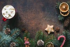 Рамка рождества с горячим шоколадом, специями, тросточкой конфеты, елью и печеньями пряника Стоковые Фотографии RF