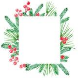 Рамка рождества с зелеными ветвями боли и красными ягодами иллюстрация вектора