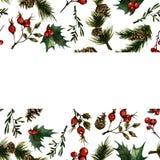 Рамка рождества с плодом шиповника бесплатная иллюстрация