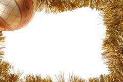 рамка рождества bauble золотистая Стоковые Фото