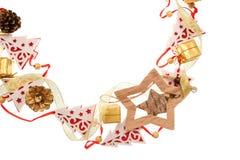 Рамка рождества деревянных елей и звезд игрушки с местом для текста Стоковые Фотографии RF