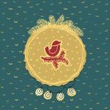 Рамка рождества и Нового Года круглая с птицей на символе ветви карточка 2007 приветствуя счастливое Новый Год Стоковая Фотография RF