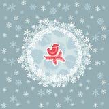 Рамка рождества и Нового Года круглая с птицей на символе ветви карточка 2007 приветствуя счастливое Новый Год Стоковые Фото