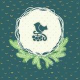 Рамка рождества и Нового Года круглая с птицей на символе ветви карточка 2007 приветствуя счастливое Новый Год Стоковые Фотографии RF