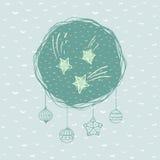 Рамка рождества и Нового Года круглая с символом звезды карточка 2007 приветствуя счастливое Новый Год бесплатная иллюстрация
