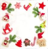 Рамка рождества орнаментирует сумки подарка украшения Стоковое фото RF