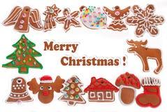 Рамка рождества при печенья пряника изолированные на белизне Стоковое Фото