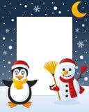 Рамка рождества - снеговик & пингвин бесплатная иллюстрация