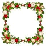 Рамка рождества с ветвями, шариками, колоколами, падубом и poinsettia ели также вектор иллюстрации притяжки corel Стоковые Изображения