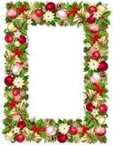 Рамка рождества с ветвями, шариками, колоколами, падубом, poinsettia и конусами ели также вектор иллюстрации притяжки corel Стоковое Изображение