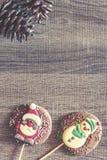 Рамка рождества с диаграммами шоколада Стоковое Изображение RF