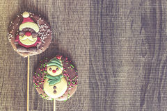 Рамка рождества с диаграммами шоколада Стоковое Фото
