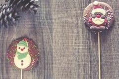 Рамка рождества с диаграммами шоколада Стоковые Фотографии RF