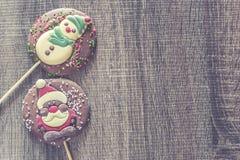 Рамка рождества с диаграммами шоколада Стоковая Фотография RF