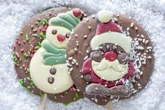 Рамка рождества с диаграммами шоколада Стоковая Фотография
