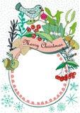 Рамка рождества с птицей, омелой и ягодами Стоковое фото RF