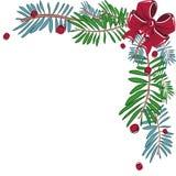 Рамка рождества угловая декоративная с смычком Стоковые Изображения